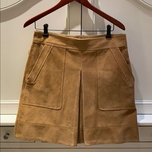 Vince Tan Inverted Pleat Suede Miniskirt size 10